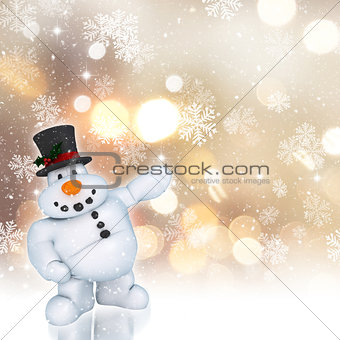 3D snowman on a golden Christmas background