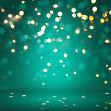 Christmas lights and snowflake background
