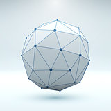 Mesh polygonal element. Sphere with connected lines and dots.