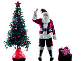 santa claus christmas tree silhouette isolated