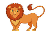 Cute modest cartoon lion with fluffy mane and kind muzzle