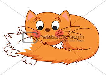 Cartoon plump red cat with kind muzzle, stretching and lying