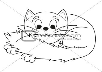 Cartoon plump kitty, vector illustration of funny cute cat, coloring book