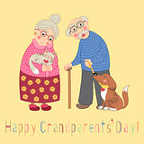 Happy grandparents day card. Poster with cute darling grandmother and grandfather