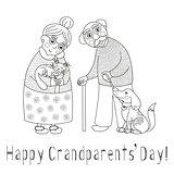 Happy grandparents day card, darling granny and grandpa, coloring book page