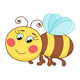 Cute cartoon bee, funny ruddy bee flying