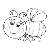 Cute funny ruddy bee flying, coloring book page