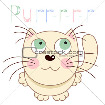 Cartoon smiling gentle beige kitty, vector illustration of caressing lonely kitten