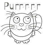 Cartoon smiling kitty, caressing missed kitten, coloring book page