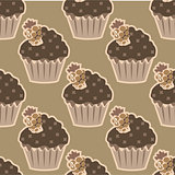 Cream choco cake seamless pattern