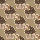 Cream choco cake seamless pattern