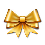 Golden vector gift bow on white background.