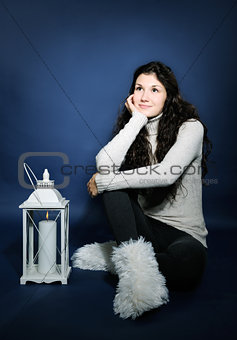 beautiful girl with lantern