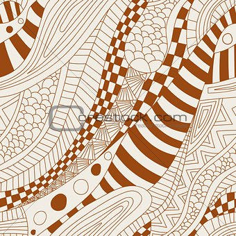 Abstract zentangle doodle waves seamless pattern.