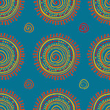 Tribal stylized sun ornament seamless pattern