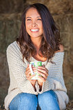 Asian Eurasian Girl Woman on Hay Bale Drinking Coffee Tea