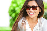 Beautiful Chinese Asian Woman Girl Wearing Sunglasses
