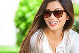 Beautiful Chinese Asian Woman Girl Wearing Sunglasses