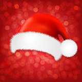 Red Background With Santa Claus Cap