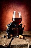 Basket of grape and wine
