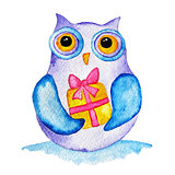 funny owl with a present