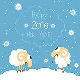 New Year card with cute funny screaming sheep