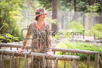1920s Dressed Girl On Wooden Bridge Portrait