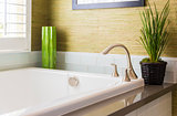 New Modern Bathtub, Faucet and Subway Tiles