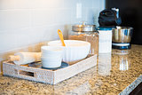 Marble Kitchen Counter Top, Subway Tile Backsplash and Baking Ac