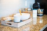 Marble Kitchen Counter Top, Subway Tile Backsplash and Baking Ac