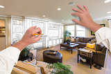 Male Hands Drawing Entertainment Center Over Photo of Home Inter