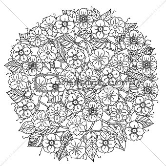 Circle orient floral black and white