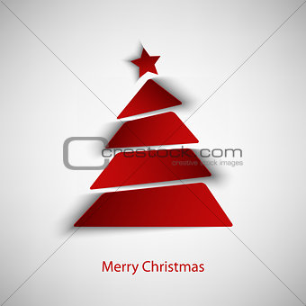 Christmas card with abstract red tree template
