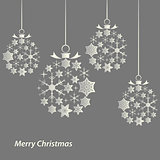 Christmas card with balls of snowflakes template