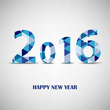 New Year card with blue triangular pattern template