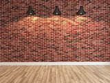 red brick wall decoration under the three spot light rendering