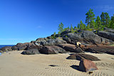 Rocky shore of the White sea. Karelia, Russia