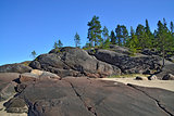 Rocky shore of the White sea. North Karelia, Russia