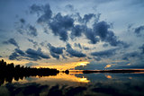 Romantic twilight. Pongoma lake, Karelia, Russia