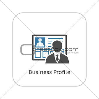 Business Profile Icon.  Flat Design.