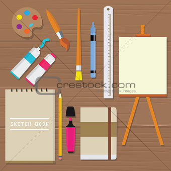 painting icon vector object palette paint tools equipment art brush canvas sketch book oil tube ruler pencil