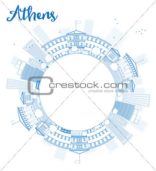 Athens Skyline with Blue Buildings and copy space