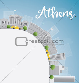 Athens Skyline with Grey Buildings, Blue Sky and copy space