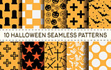 Set of 10 halloween seamless patterns