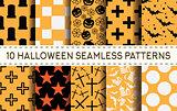 Set of 10 halloween seamless patterns