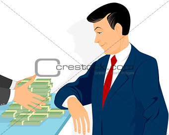 Businessman and pot of money