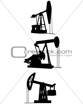 Three oil pumps silhouettes