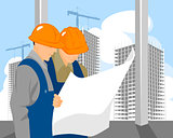Two builders look on plan