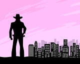 Sheriff at city background
