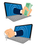Laptop and hand with keys and money
